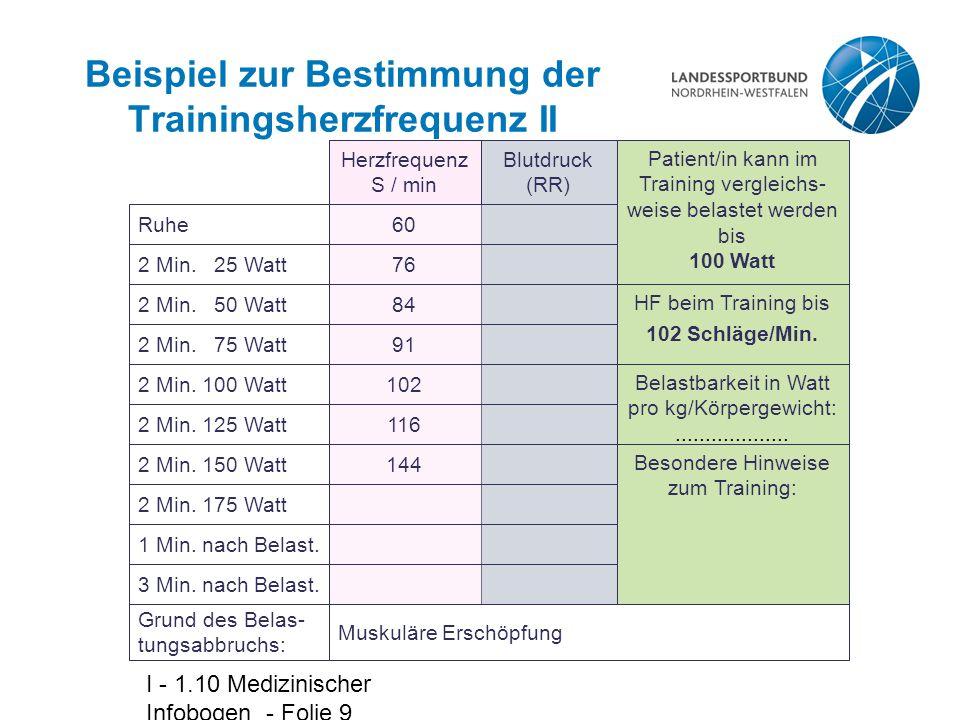 I - 1.10 Medizinischer Infobogen - Folie 9 Beispiel zur Bestimmung der Trainingsherzfrequenz II Herzfrequenz S / min Blutdruck (RR) Patient/in kann im