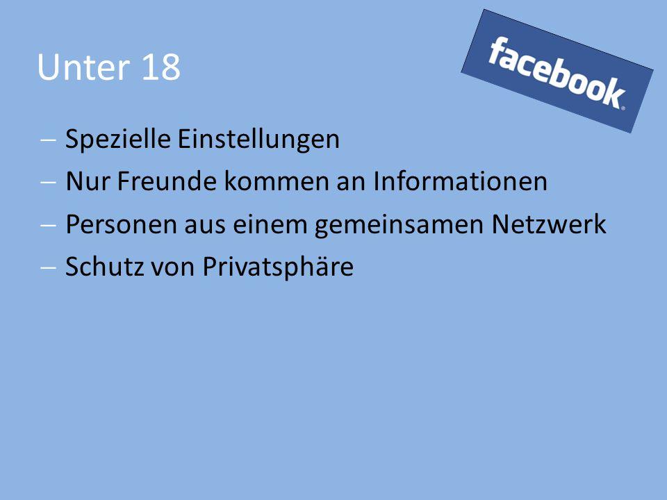Unter 18  Spezielle Einstellungen  Nur Freunde kommen an Informationen  Personen aus einem gemeinsamen Netzwerk  Schutz von Privatsphäre