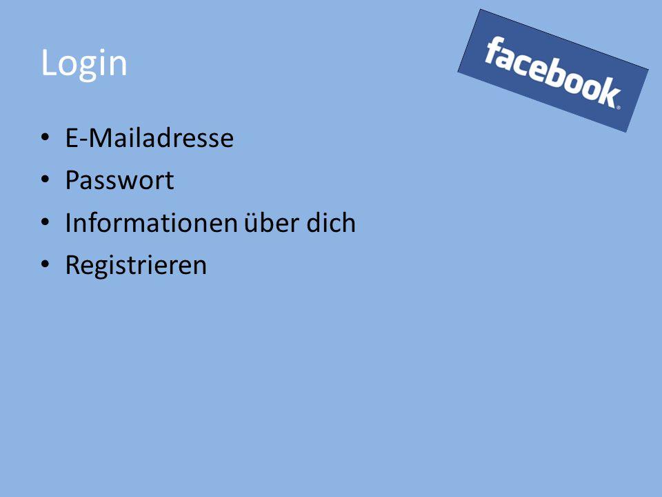 Login E-Mailadresse Passwort Informationen über dich Registrieren