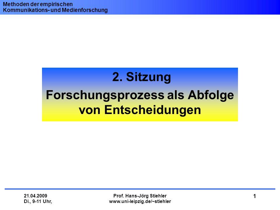 Methoden der empirischen Kommunikations- und Medienforschung 21.04.2009 Di., 9-11 Uhr, Prof. Hans-Jörg Stiehler www.uni-leipzig.de/~stiehler 1 2. Sitz