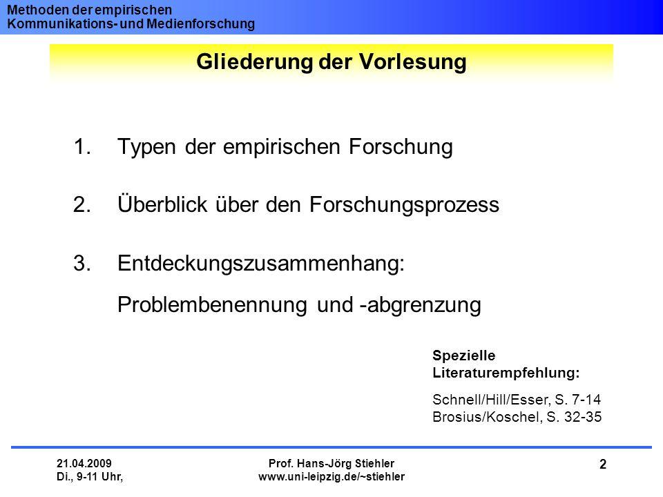 Methoden der empirischen Kommunikations- und Medienforschung 21.04.2009 Di., 9-11 Uhr, Prof. Hans-Jörg Stiehler www.uni-leipzig.de/~stiehler 2 1.Typen