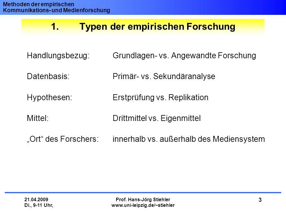 Methoden der empirischen Kommunikations- und Medienforschung 21.04.2009 Di., 9-11 Uhr, Prof. Hans-Jörg Stiehler www.uni-leipzig.de/~stiehler 3 Handlun