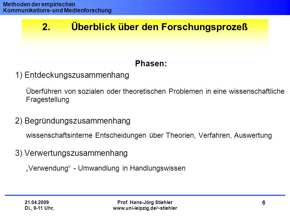 Methoden der empirischen Kommunikations- und Medienforschung 21.04.2009 Di., 9-11 Uhr, Prof. Hans-Jörg Stiehler www.uni-leipzig.de/~stiehler 6 2.Überb