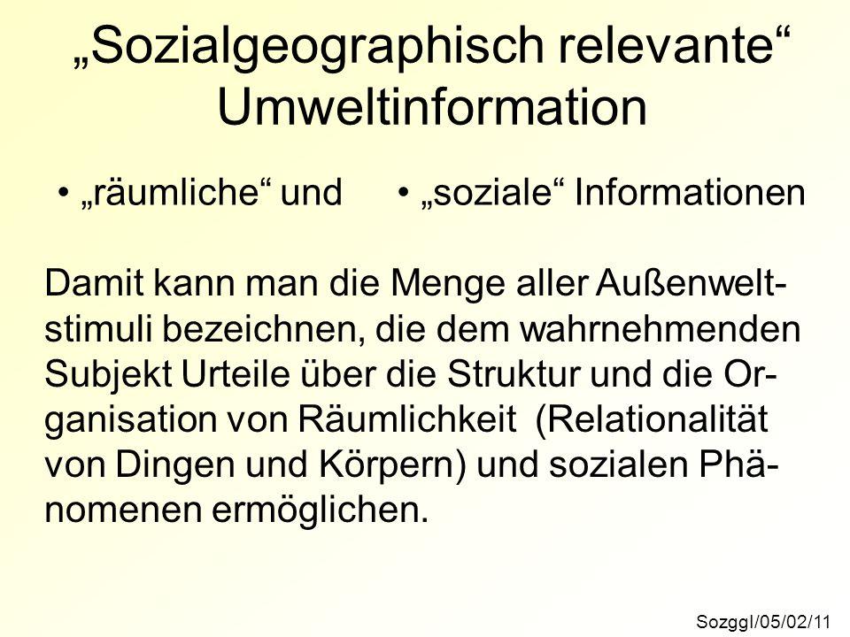 """""""Sozialgeographisch relevante"""" Umweltinformation SozggI/05/02/11 """"räumliche"""" und """"soziale"""" Informationen Damit kann man die Menge aller Außenwelt- sti"""