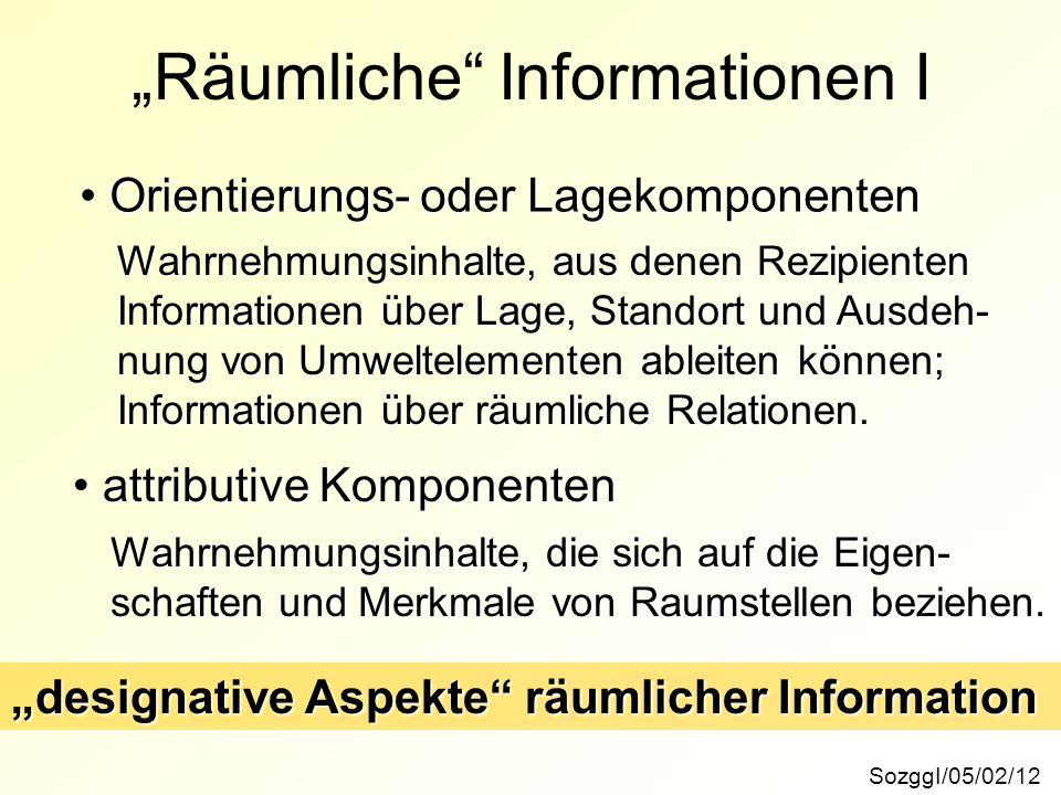"""""""Räumliche"""" Informationen I SozggI/05/02/12 Orientierungs- oder Lagekomponenten Orientierungs- oder Lagekomponenten attributive Komponenten attributiv"""