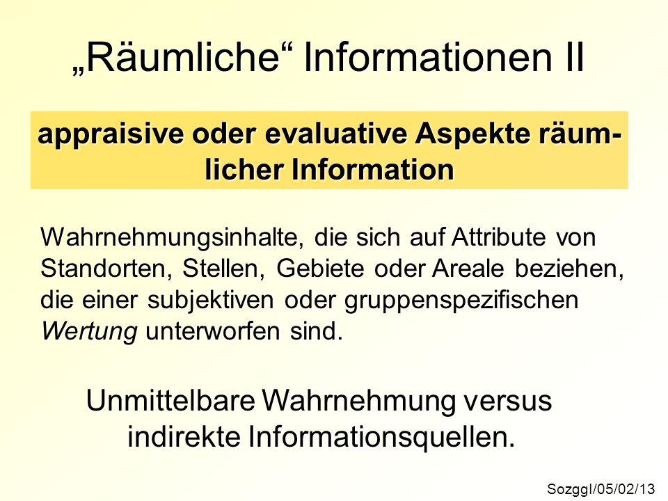 """SozggI/05/02/13 """"Räumliche"""" Informationen II appraisive oder evaluative Aspekte räum- licher Information Wahrnehmungsinhalte, die sich auf Attribute v"""