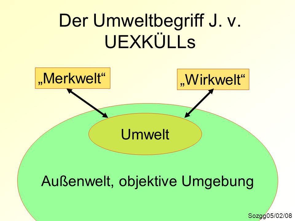 """Außenwelt, objektive Umgebung Der Umweltbegriff J. v. UEXKÜLLs Sozgg05/02/08 """"Merkwelt"""" """"Wirkwelt"""" Umwelt"""