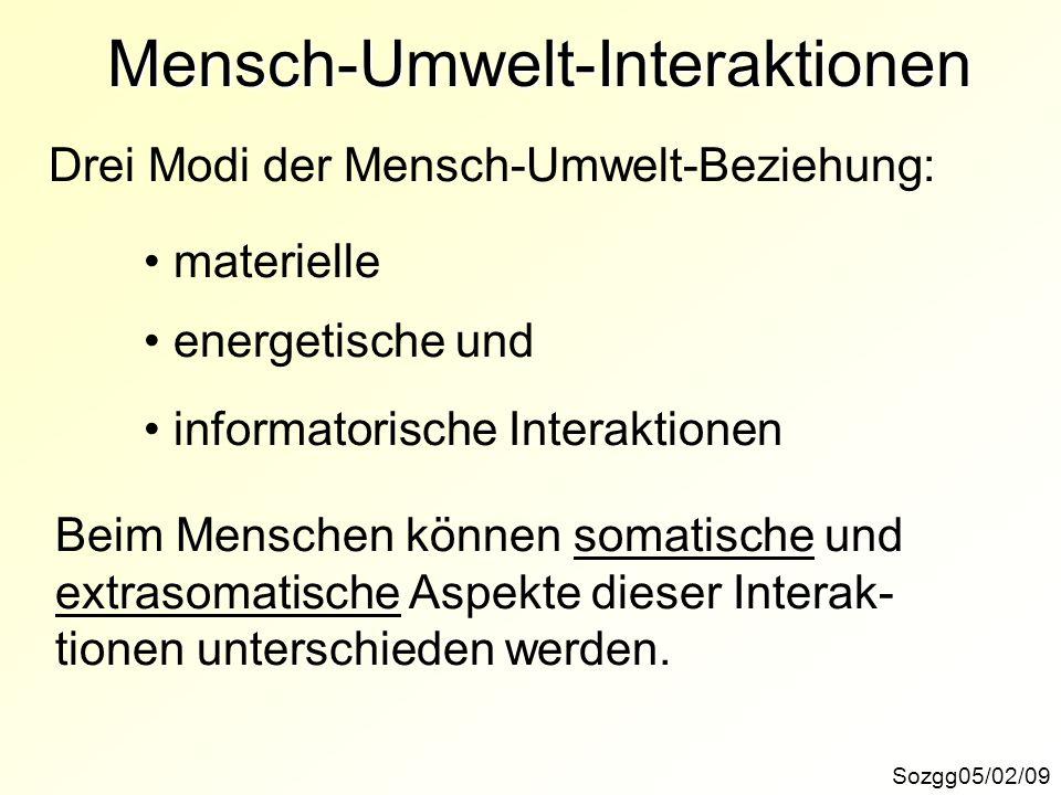 Mensch-Umwelt-Interaktionen Drei Modi der Mensch-Umwelt-Beziehung: materielle energetische und informatorische Interaktionen Beim Menschen können soma