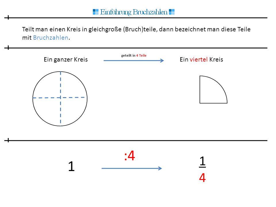 Teilt man einen Kreis in gleichgroße (Bruch)teile, dann bezeichnet man diese Teile mit Bruchzahlen. Ein ganzer Kreis geteilt in 4 Teile Ein viertel Kr