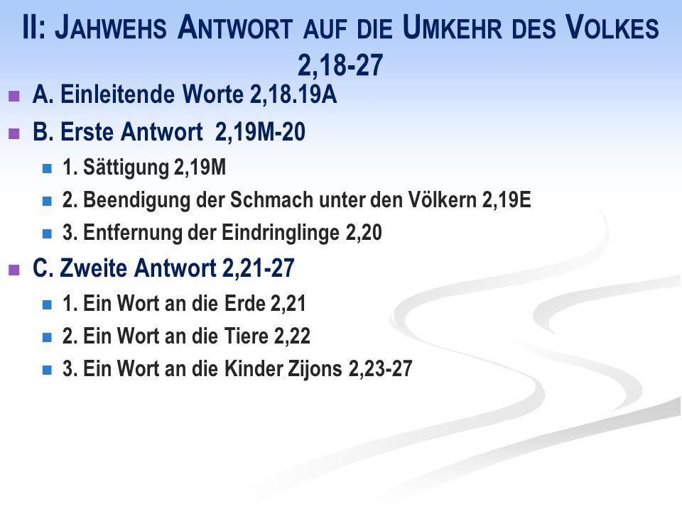 II: J AHWEHS A NTWORT AUF DIE U MKEHR DES V OLKES 2,18-27 A. Einleitende Worte 2,18.19A B. Erste Antwort 2,19M-20 1. Sättigung 2,19M 2. Beendigung der