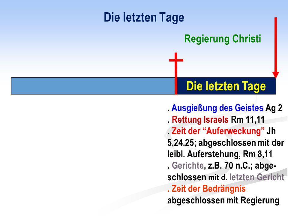 """Die letzten Tage. Ausgießung des Geistes Ag 2. Rettung Israels Rm 11,11. Zeit der """"Auferweckung"""" Jh 5,24.25; abgeschlossen mit der leibl. Auferstehung"""