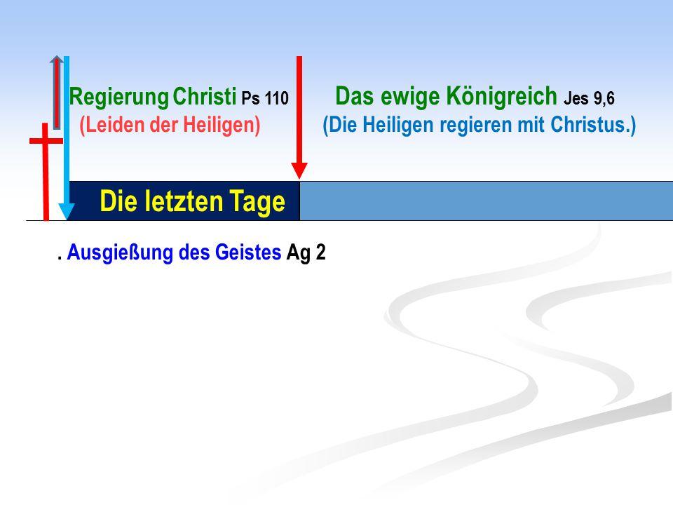 Die letzten Tage. Ausgießung des Geistes Ag 2 Regierung Christi Ps 110 Das ewige Königreich Jes 9,6 (Leiden der Heiligen) (Die Heiligen regieren mit C