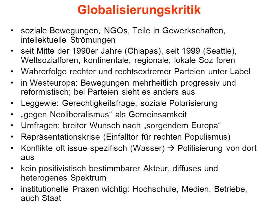 """Typen der Globalisierungskritik Leggewie, Claus: Feinde, Gegner, Kritiker seine Kriterien (a) links-rechts; (b) Evolution-Devolution; (c) Ausstieg aus Globalisierung, Protest, Loyalität/Verbesserung These, dass allen gemeinsam: Gerechtigkeitsfrage 1.rechte G-kritik: Protektionismus 2.Kritik der Strasse: """"Umkehr der Beweislast 3.""""Insider-Kritik ; für Reformen, GloGov: G."""