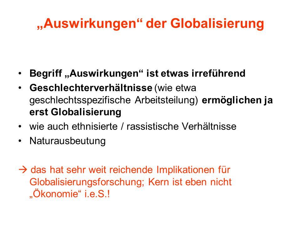 """""""Auswirkungen der Globalisierung Begriff """"Auswirkungen ist etwas irreführend Geschlechterverhältnisse (wie etwa geschlechtsspezifische Arbeitsteilung) ermöglichen ja erst Globalisierung wie auch ethnisierte / rassistische Verhältnisse Naturausbeutung  das hat sehr weit reichende Implikationen für Globalisierungsforschung; Kern ist eben nicht """"Ökonomie i.e.S.!"""