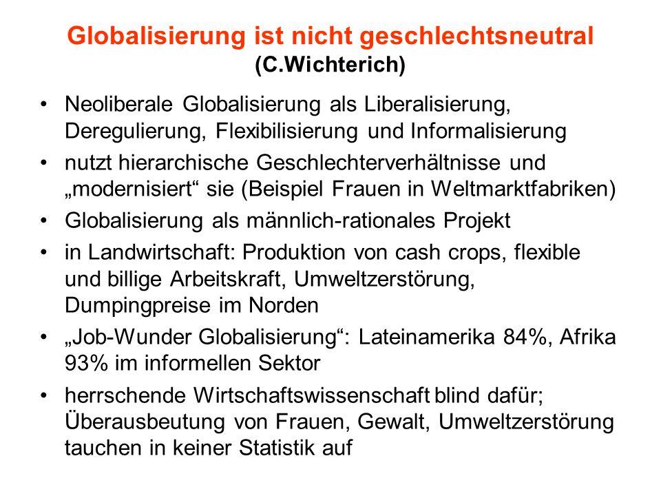 """Globalisierung ist nicht geschlechtsneutral (C.Wichterich) Neoliberale Globalisierung als Liberalisierung, Deregulierung, Flexibilisierung und Informalisierung nutzt hierarchische Geschlechterverhältnisse und """"modernisiert sie (Beispiel Frauen in Weltmarktfabriken) Globalisierung als männlich-rationales Projekt in Landwirtschaft: Produktion von cash crops, flexible und billige Arbeitskraft, Umweltzerstörung, Dumpingpreise im Norden """"Job-Wunder Globalisierung : Lateinamerika 84%, Afrika 93% im informellen Sektor herrschende Wirtschaftswissenschaft blind dafür; Überausbeutung von Frauen, Gewalt, Umweltzerstörung tauchen in keiner Statistik auf"""