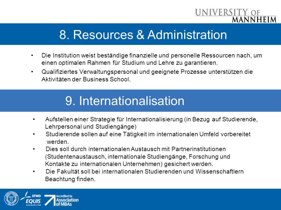 Die Institution weist beständige finanzielle und personelle Ressourcen nach, um einen optimalen Rahmen für Studium und Lehre zu garantieren.