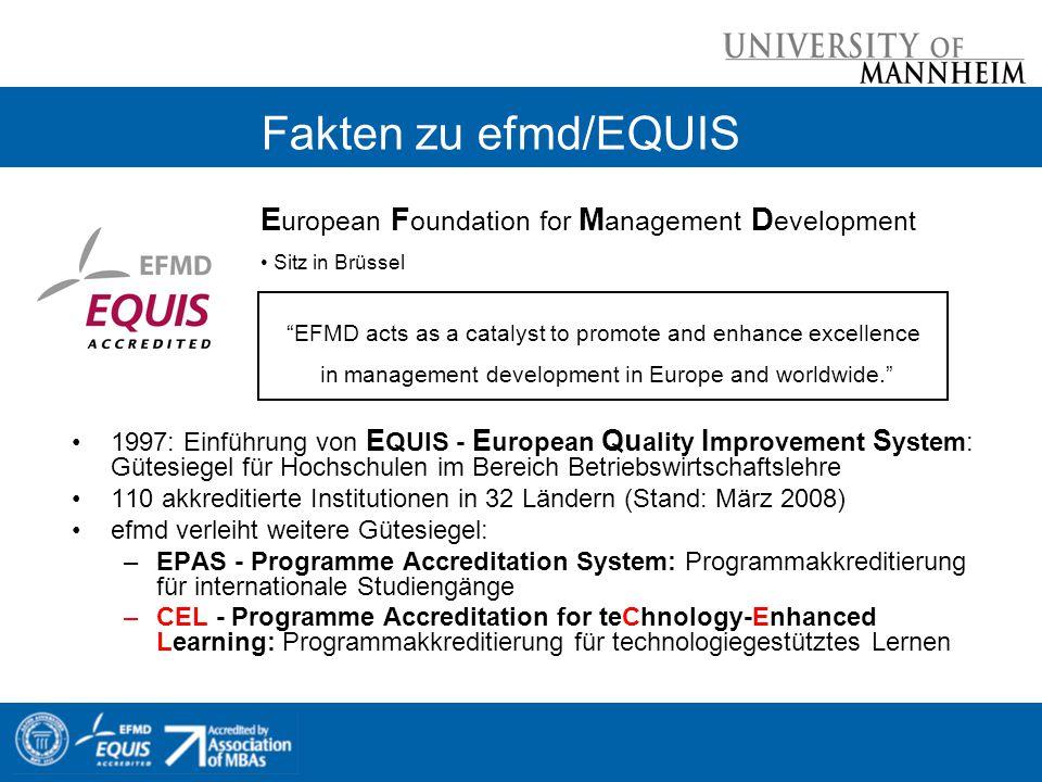 Fakten zu efmd/EQUIS 1997: Einführung von E QUIS - E uropean Qu ality I mprovement S ystem: Gütesiegel für Hochschulen im Bereich Betriebswirtschaftsl