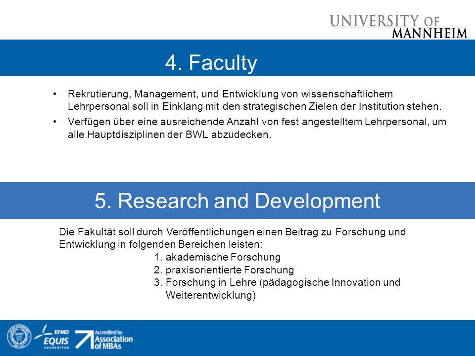 4. Faculty Rekrutierung, Management, und Entwicklung von wissenschaftlichem Lehrpersonal soll in Einklang mit den strategischen Zielen der Institution