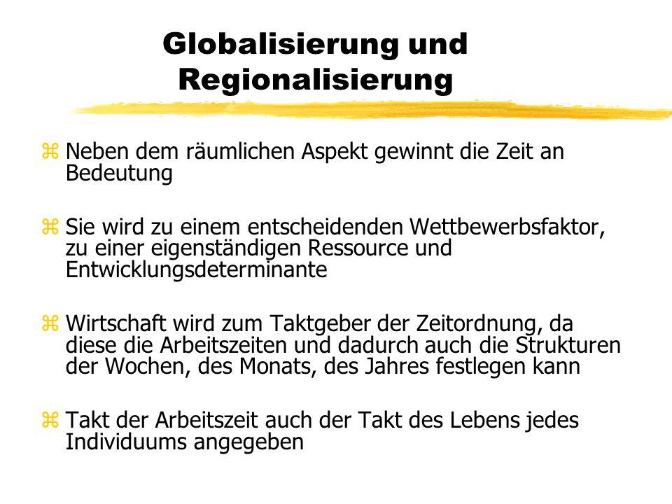 Globalisierung und Regionalisierung zMilderung des unternehmerische Risikos durch die Vielfalt einer Region zVorteile der Regionalisierung für die Zul
