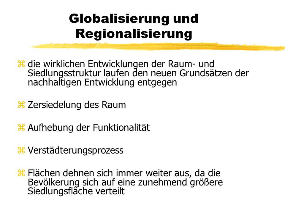 Globalisierung und Regionalisierung zNeben dem räumlichen Aspekt gewinnt die Zeit an Bedeutung zSie wird zu einem entscheidenden Wettbewerbsfaktor, zu