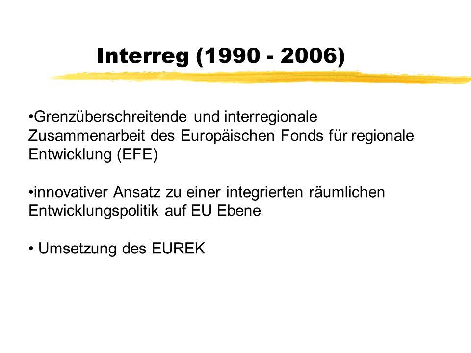 Europäisches Raumentwicklungskonzept – EUREK (1997-1999) Durch die fortschreitende europäische Integration wurde auch eine europäische Sichtweise der