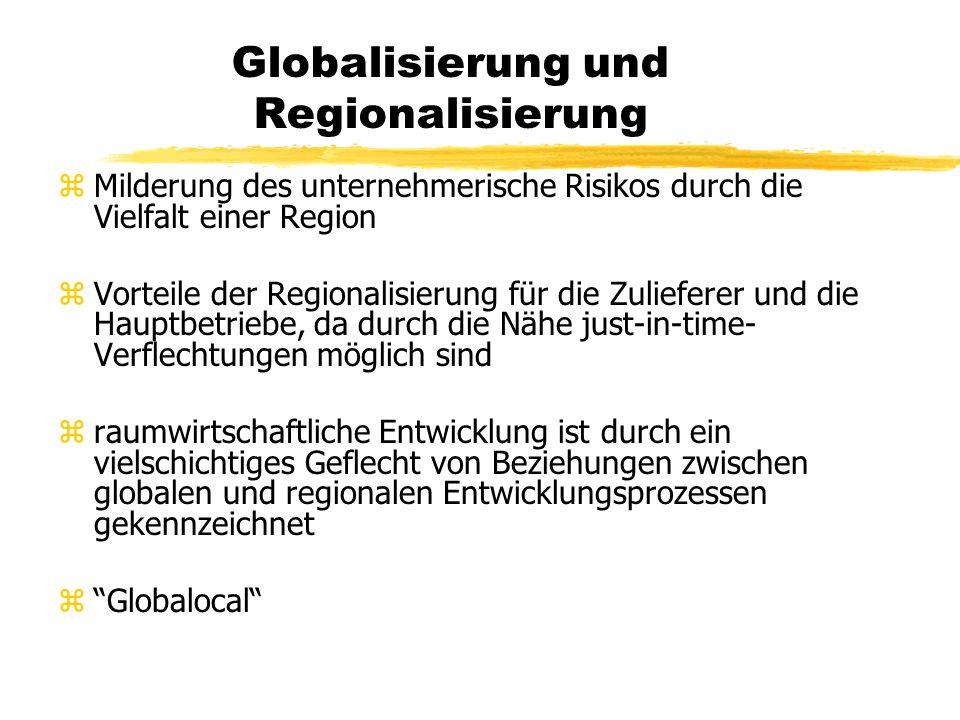 Globalisierung und Regionalisierung zMilderung des unternehmerische Risikos durch die Vielfalt einer Region zVorteile der Regionalisierung für die Zulieferer und die Hauptbetriebe, da durch die Nähe just-in-time- Verflechtungen möglich sind zraumwirtschaftliche Entwicklung ist durch ein vielschichtiges Geflecht von Beziehungen zwischen globalen und regionalen Entwicklungsprozessen gekennzeichnet z Globalocal