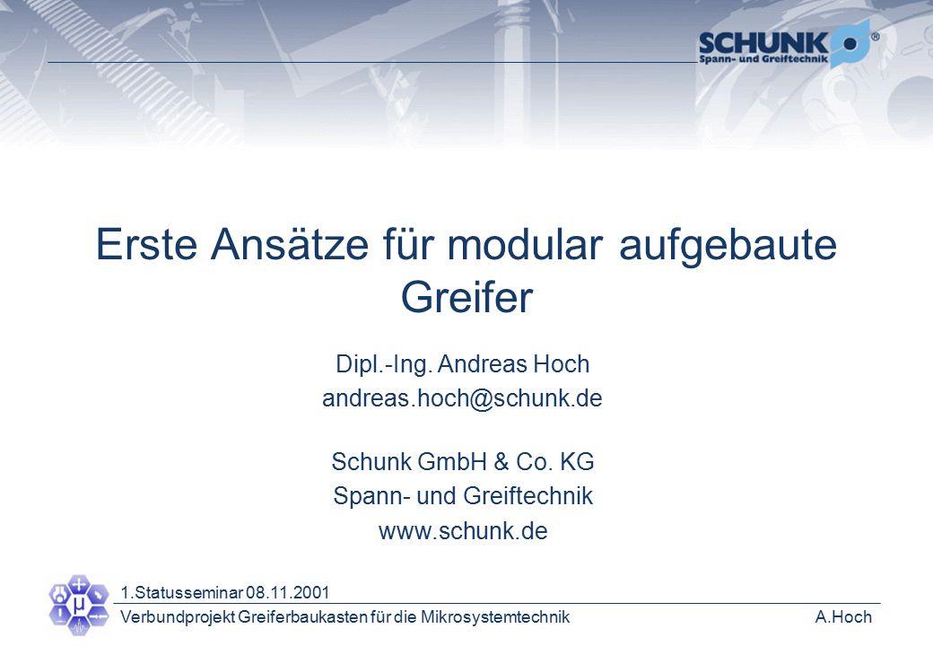 A.HochVerbundprojekt Greiferbaukasten für die Mikrosystemtechnik 1.Statusseminar 08.11.2001 Dipl.-Ing.