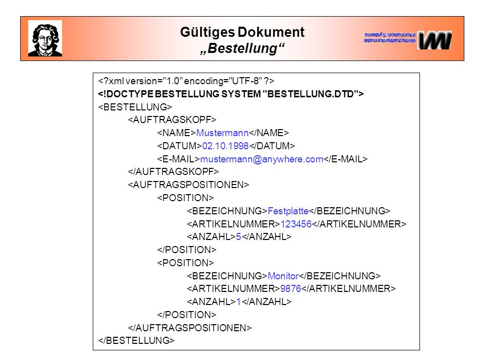 "Gültiges Dokument ""Bestellung"" Mustermann 02.10.1998 mustermann@anywhere.com Festplatte 123456 5 Monitor 9876 1"