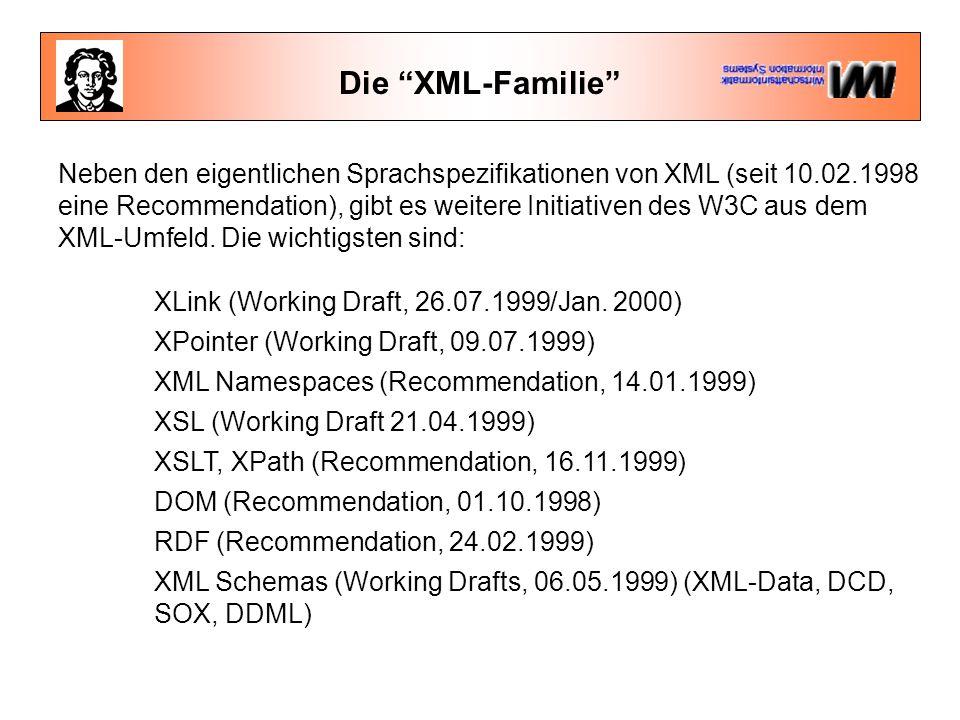 """Die """"XML-Familie"""" Neben den eigentlichen Sprachspezifikationen von XML (seit 10.02.1998 eine Recommendation), gibt es weitere Initiativen des W3C aus"""