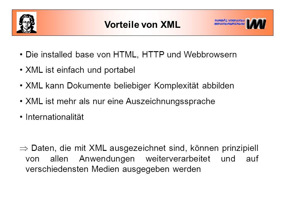 Vorteile von XML Die installed base von HTML, HTTP und Webbrowsern XML ist einfach und portabel XML kann Dokumente beliebiger Komplexität abbilden XML ist mehr als nur eine Auszeichnungssprache Internationalität  Daten, die mit XML ausgezeichnet sind, können prinzipiell von allen Anwendungen weiterverarbeitet und auf verschiedensten Medien ausgegeben werden