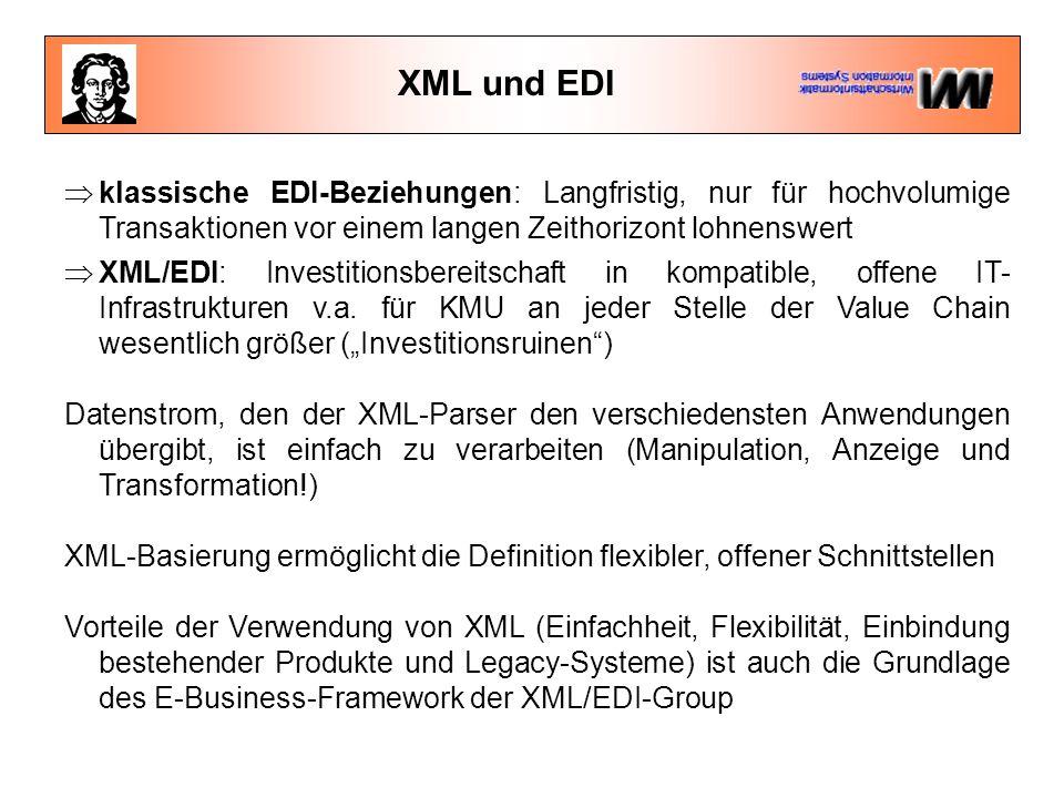 XML und EDI  klassische EDI-Beziehungen: Langfristig, nur für hochvolumige Transaktionen vor einem langen Zeithorizont lohnenswert  XML/EDI: Investitionsbereitschaft in kompatible, offene IT- Infrastrukturen v.a.