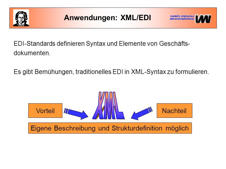 Anwendungen: XML/EDI VorteilNachteil Eigene Beschreibung und Strukturdefinition möglich EDI-Standards definieren Syntax und Elemente von Geschäfts- do