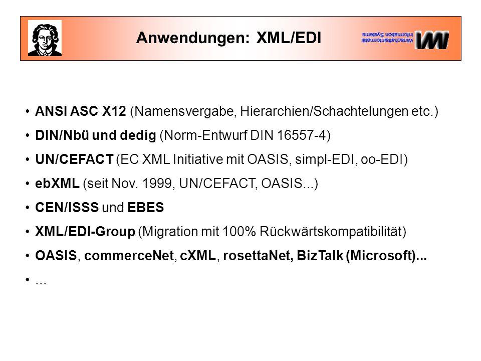 Anwendungen: XML/EDI ANSI ASC X12 (Namensvergabe, Hierarchien/Schachtelungen etc.) DIN/Nbü und dedig (Norm-Entwurf DIN 16557-4) UN/CEFACT (EC XML Initiative mit OASIS, simpl-EDI, oo-EDI) ebXML (seit Nov.