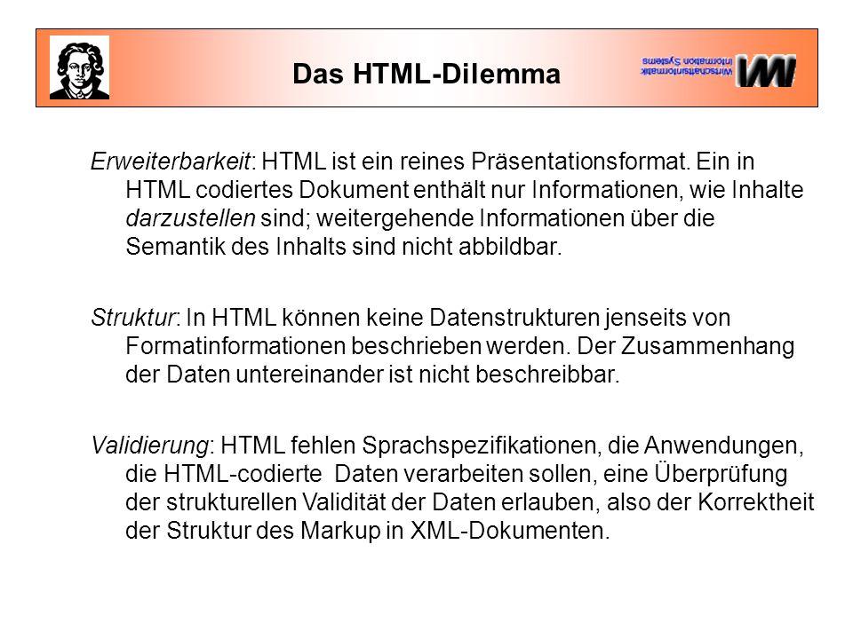 Das HTML-Dilemma Erweiterbarkeit: HTML ist ein reines Präsentationsformat. Ein in HTML codiertes Dokument enthält nur Informationen, wie Inhalte darzu