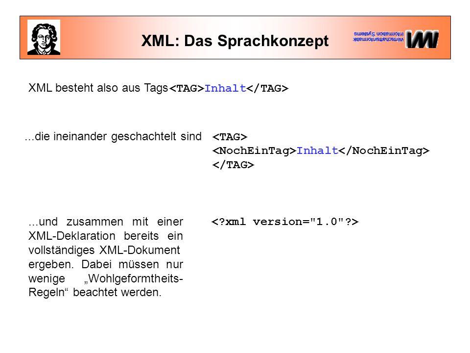 XML: Das Sprachkonzept XML besteht also aus Tags Inhalt...die ineinander geschachtelt sind Inhalt...und zusammen mit einer XML-Deklaration bereits ein