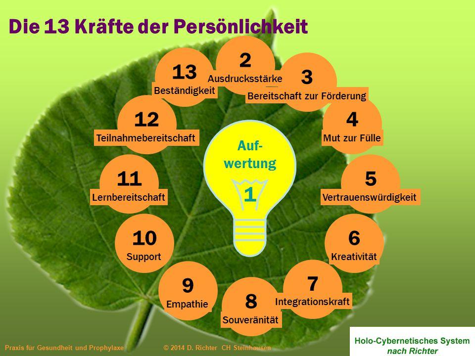 Auf- wertung 1 4 Mut zur Fülle 13 Beständigkeit 12 Teilnahmebereitschaft 11 Lernbereitschaft 10 Support 9 Empathie 8 Souveränität 7 Integrationskraft