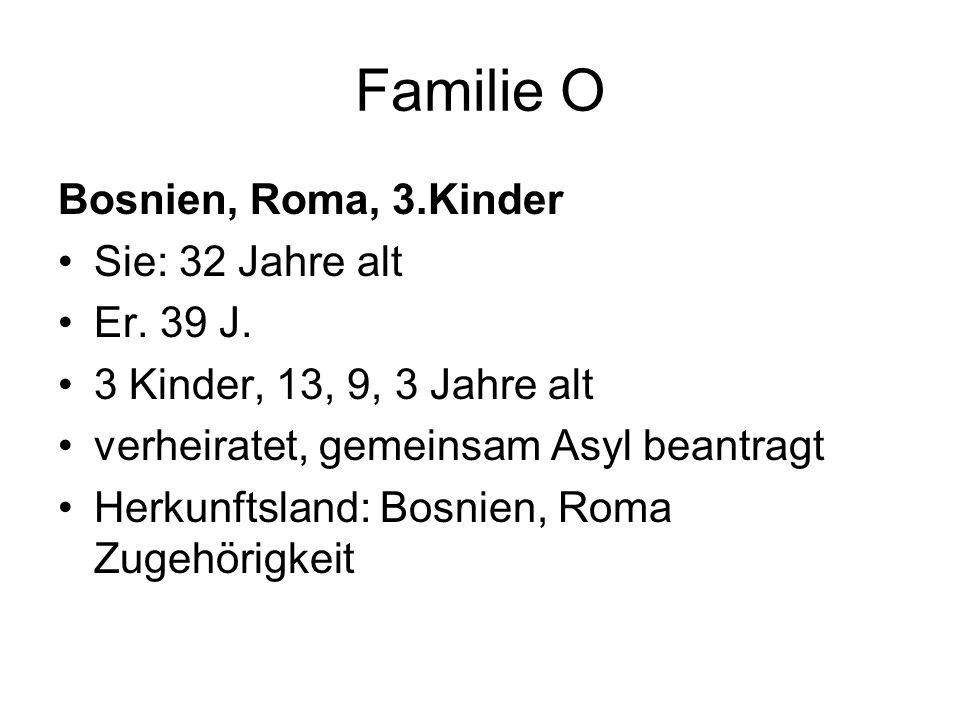 Familie O Bosnien, Roma, 3.Kinder Sie: 32 Jahre alt Er.