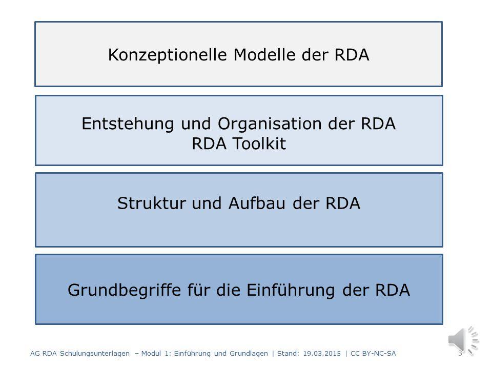 Einführung und Grundlagen Modul 1 2 AG RDA Schulungsunterlagen – Modul 1: Einführung und Grundlagen | Stand: 19.03.2015 | CC BY-NC-SA