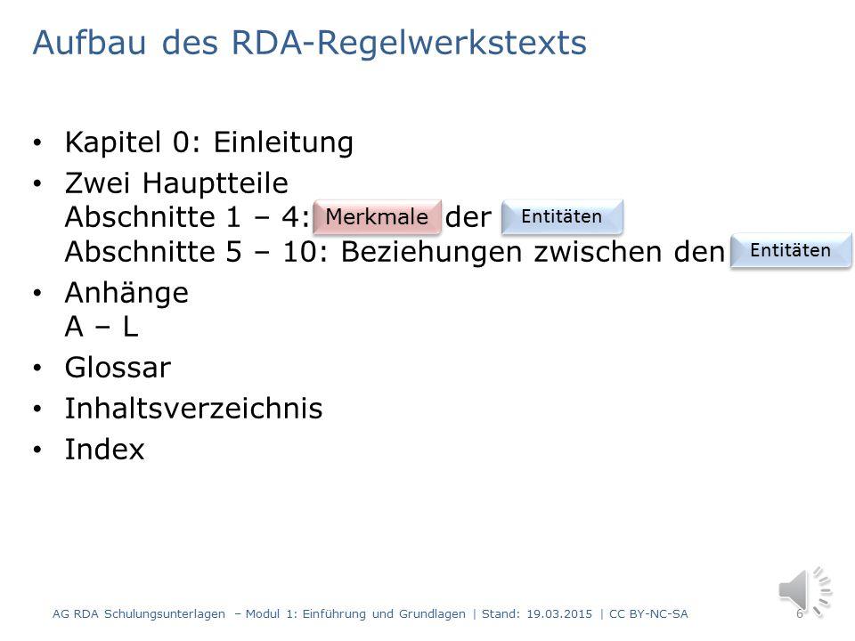 Einführung und Grundlagen Teil 3 Modul 1 5 AG RDA Schulungsunterlagen – Modul 1: Einführung und Grundlagen | Stand: 19.03.2015 | CC BY-NC-SA Struktur und Aufbau der RDA