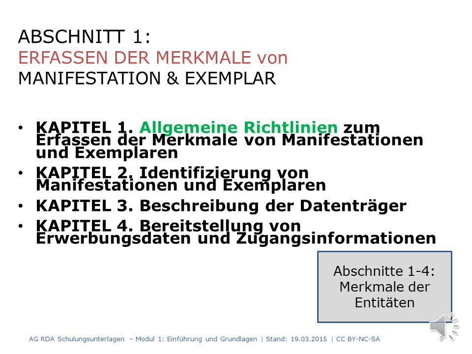 0.0 Ziel und Geltungsbereich 0.1 Wesentliche Funktionen 0.2 Beziehung zu sonstigen Standards für die Beschreibung von Ressourcen und den Zugang zu ihnen 0.3 Konzeptionelle Modelle, die den RDA zugrunde liegen 0.4 Ziele und Prinzipien für die Beschreibung von Ressourcen und den Zugang zu ihnen 0.5 Struktur 0.6 Kernelemente 0.7 Sucheinstiege 0.8 Alternativen und Optionen 0.9 Ausnahmen 0.10 Beispiele 0.11 Internationalisierung 0.12 Kodierung von RDA-Daten AG RDA Schulungsunterlagen – Modul 1: Einführung und Grundlagen | Stand: 19.03.2015 | CC BY-NC-SA 8 Kapitel 0: Einleitung