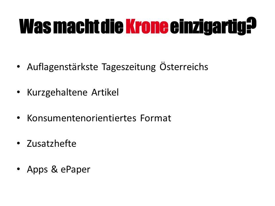 Was macht die Krone einzigartig ? Auflagenstärkste Tageszeitung Österreichs Kurzgehaltene Artikel Konsumentenorientiertes Format Zusatzhefte Apps & eP