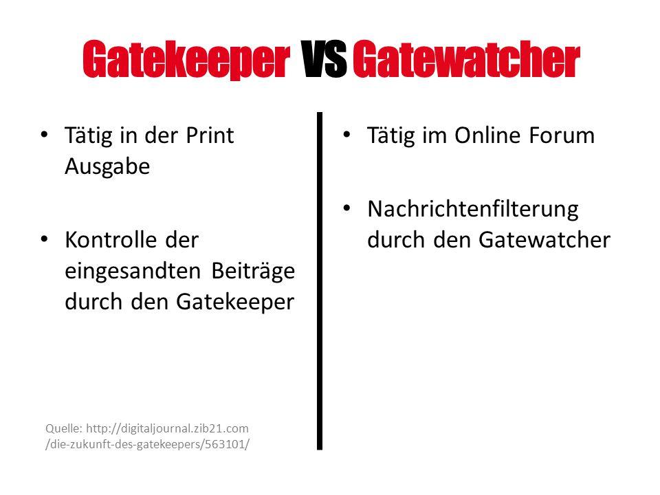 Gatekeeper VS Gatewatcher Tätig in der Print Ausgabe Kontrolle der eingesandten Beiträge durch den Gatekeeper Tätig im Online Forum Nachrichtenfilteru