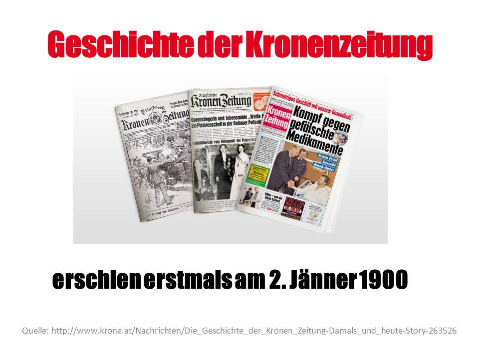 Geschichte der Kronenzeitung Quelle: http://www.krone.at/Nachrichten/Die_Geschichte_der_Kronen_Zeitung-Damals_und_heute-Story-263526 erschien erstmals