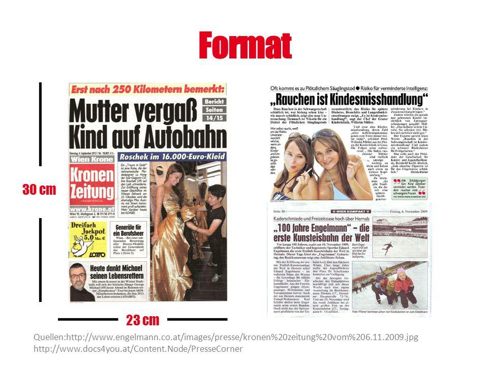Format 23 cm 30 cm Quellen:http://www.engelmann.co.at/images/presse/kronen%20zeitung%20vom%206.11.2009.jpg http://www.docs4you.at/Content.Node/PresseC