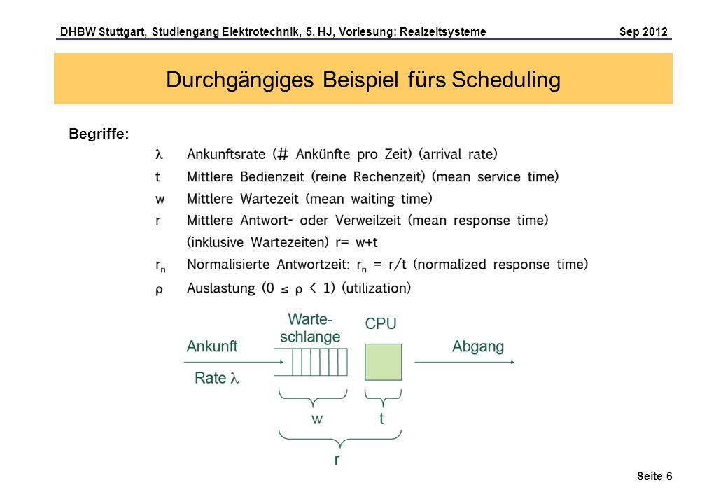 Seite 6 DHBW Stuttgart, Studiengang Elektrotechnik, 5. HJ, Vorlesung: Realzeitsysteme Sep 2012 Durchgängiges Beispiel fürs Scheduling Begriffe: