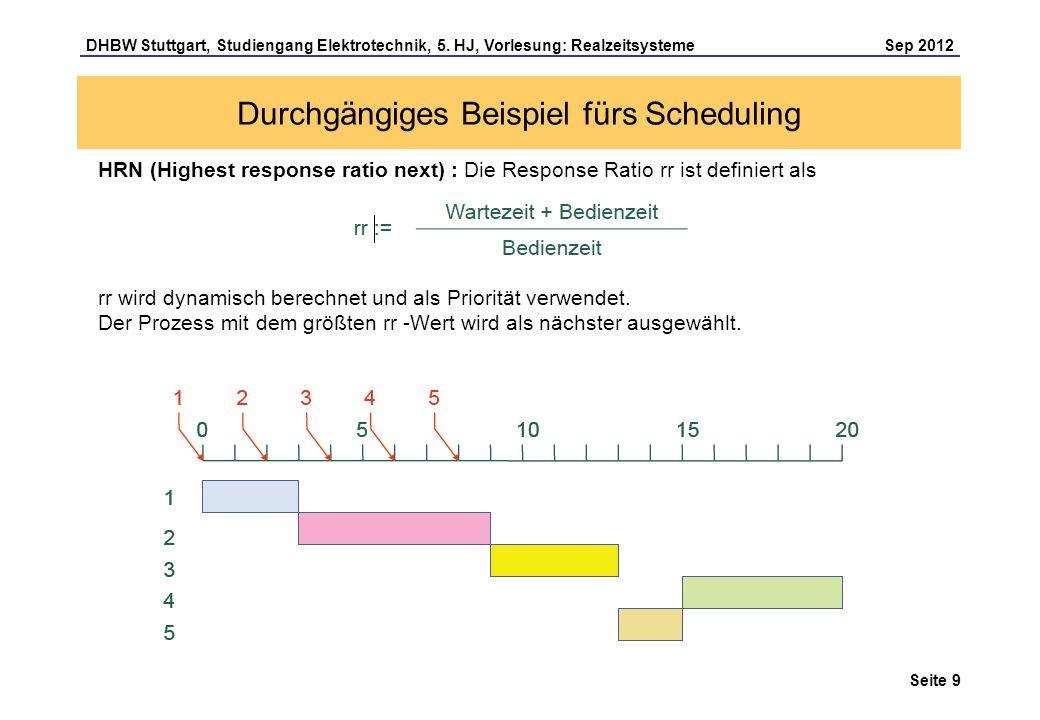Seite 9 DHBW Stuttgart, Studiengang Elektrotechnik, 5. HJ, Vorlesung: Realzeitsysteme Sep 2012 Durchgängiges Beispiel fürs Scheduling HRN (Highest res