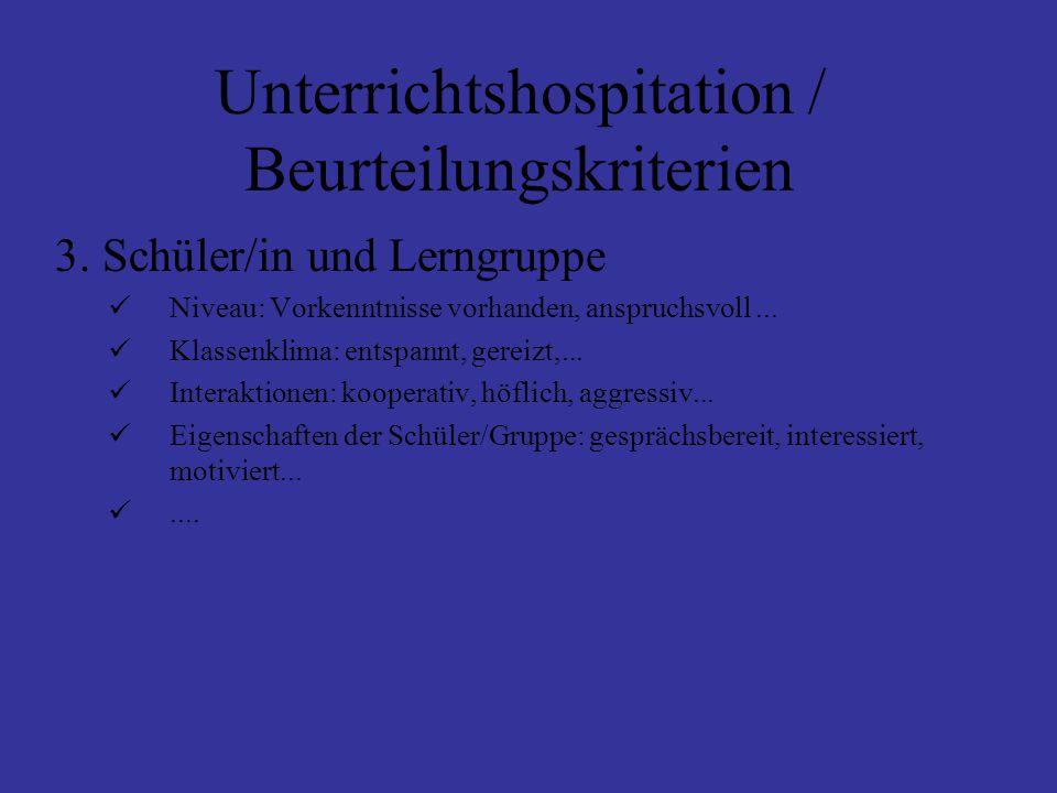 Unterrichtshospitation / Beurteilungskriterien 3.