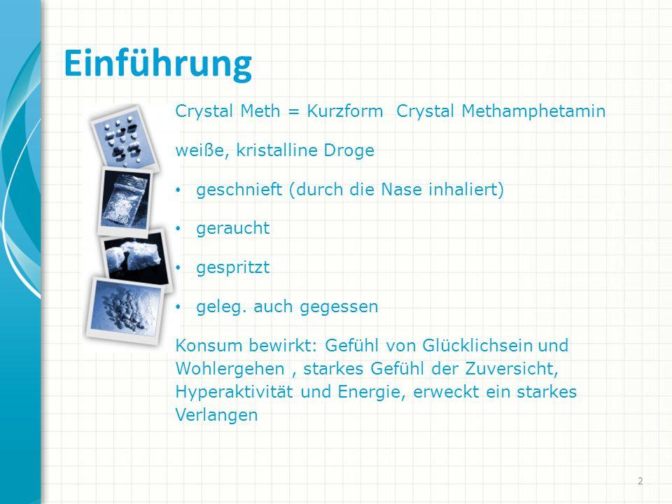 Einführung Crystal Meth = Kurzform Crystal Methamphetamin weiße, kristalline Droge geschnieft (durch die Nase inhaliert) geraucht gespritzt geleg.