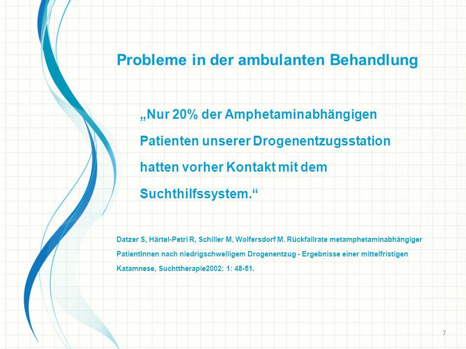"""Probleme in der ambulanten Behandlung """"Nur 20% der Amphetaminabhängigen Patienten unserer Drogenentzugsstation hatten vorher Kontakt mit dem Suchthilfssystem. Datzer S, Härtel-Petri R, Schiller M, Wolfersdorf M."""
