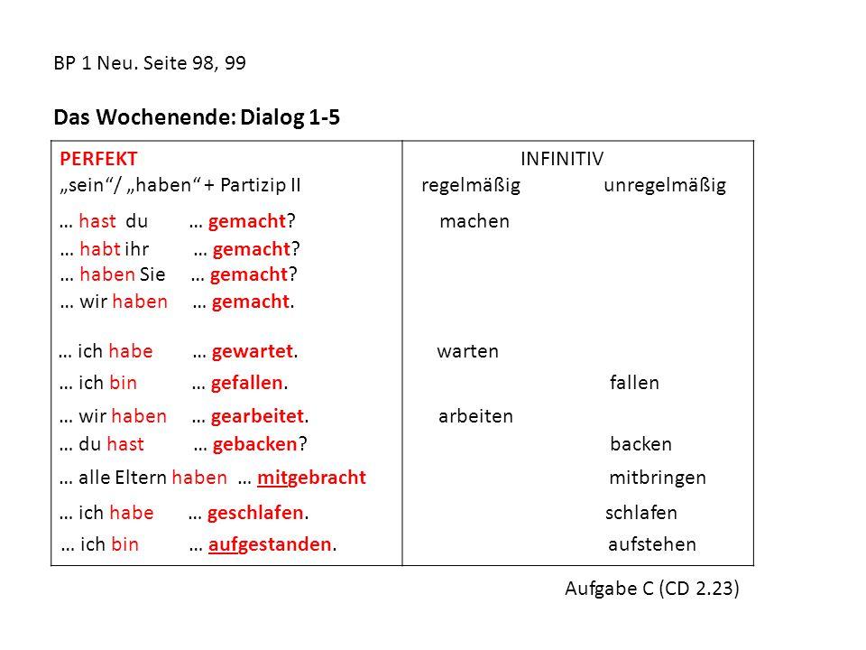 """BP 1 Neu. Seite 98, 99 Das Wochenende: Dialog 1-5 PERFEKT """"sein""""/ """"haben"""" + Partizip II INFINITIV regelmäßig unregelmäßig … hast du … gemacht? machen"""
